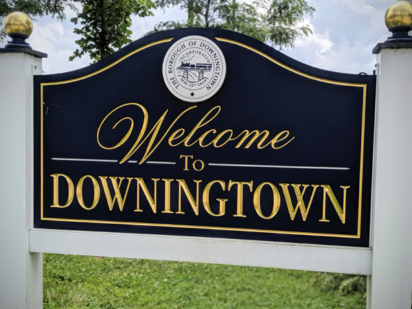 Welcome Sign to Downingtown PA